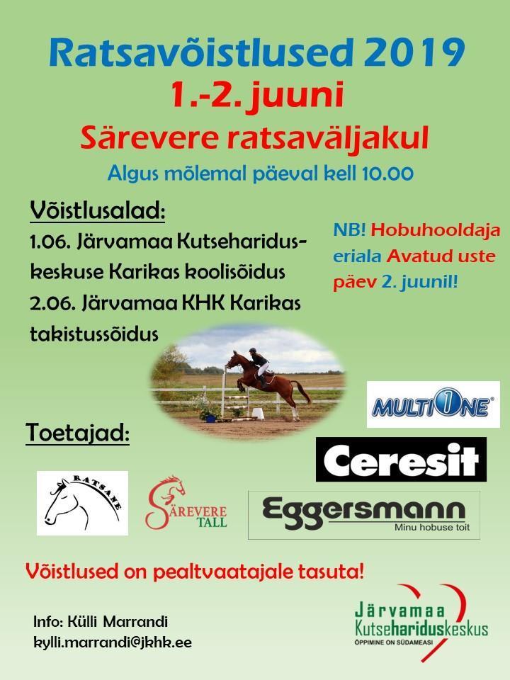 1.-2.juunil 2019 toimuvad Särevere ratsaväljakul ratsavõistlused ning 2.juunil hobuhooldaja eriala avatud uste päev.