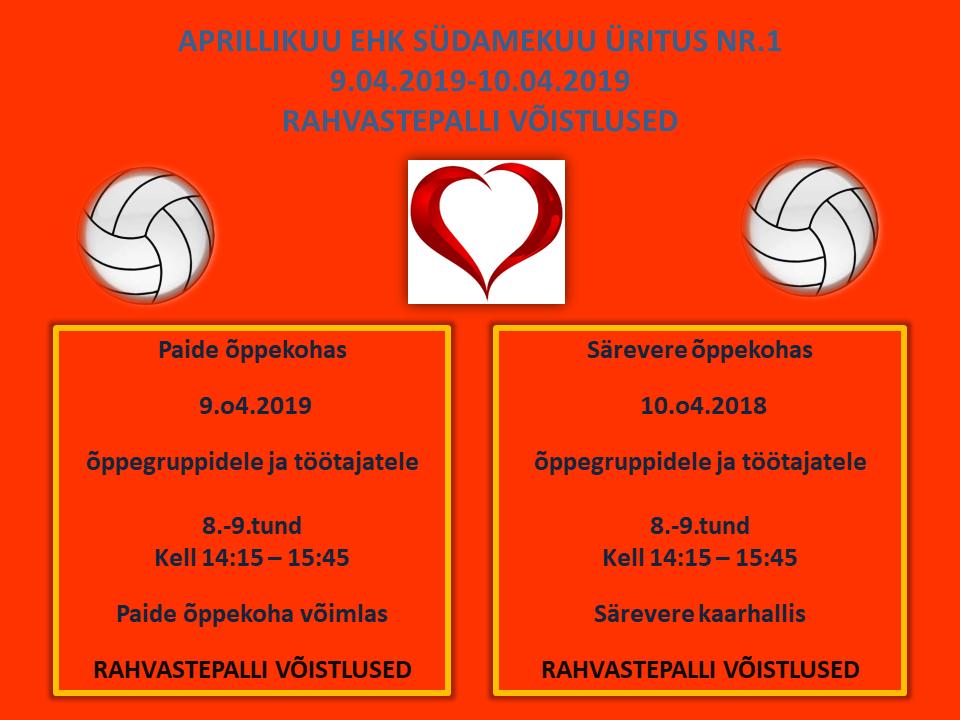Südamekuu esimene liikumisüritus on Järvamaa Kutsehariduskeskuses rahvastepalli võistlus.
