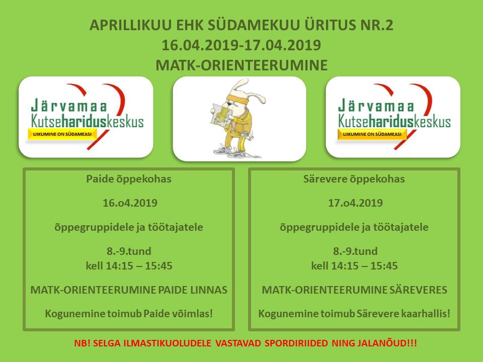 Südamekuu teine liikumisüritus Järvamaa Kutsehariduskeskuses on matk-orienteerumine.